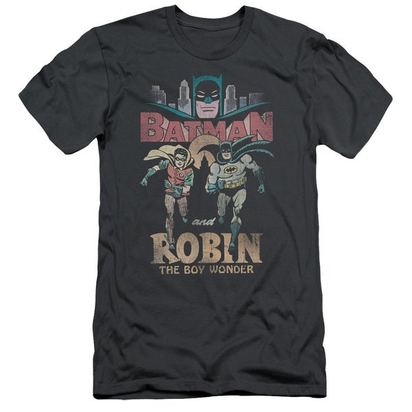 Batman Classic Tv/Classic Duo Short Sleeve Adult T-Shirt 30/1 in Charcoal