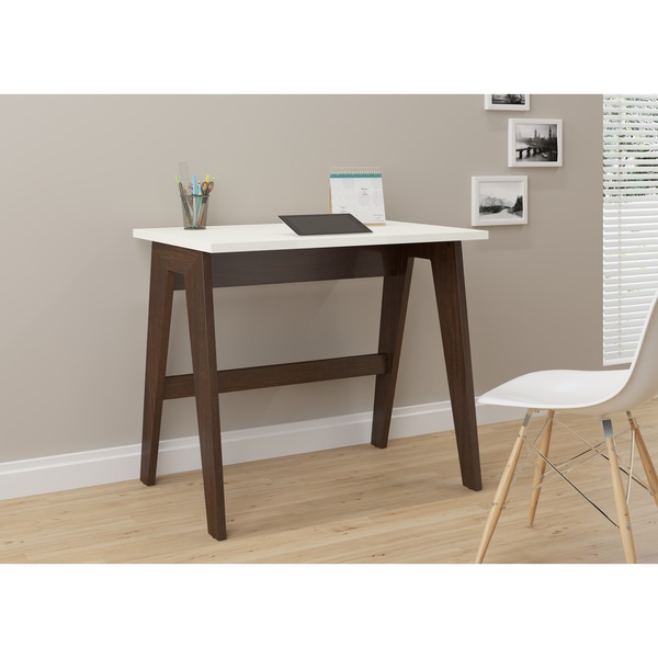 Trendline 26107 Off-white Wood and Laminate Home Office Desk