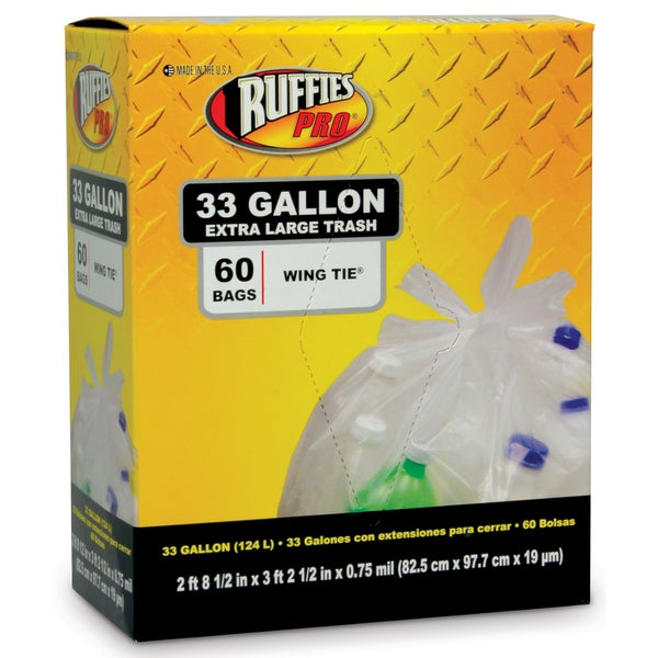 Ruffies Pro 1124909 33 Gallon Clear X-Large Trash Bags 60 Count