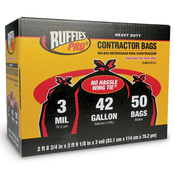 Ruffies Pro 1124905 50 Count 42 Gallon Heavy Duty Contractor Bags