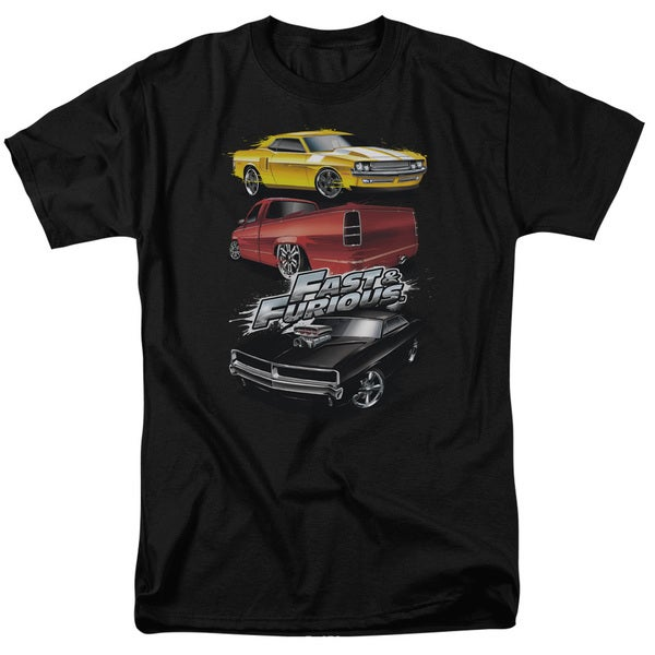 Fast and The Furious/Muscle Car Splatter Short Sleeve Adult 18/1 in Charcoal