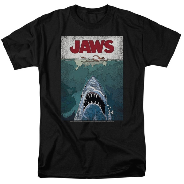 Jaws/Lined Poster Short Sleeve Adult T-Shirt 18/1 in Black
