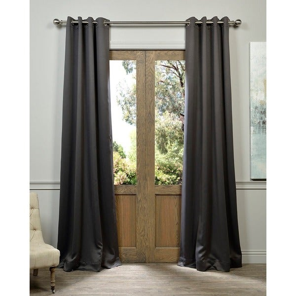 Exclusive Fabrics Charcoal Grommet Top Blackout Curtain Panel Pair 50' x 108'(As Is Item)