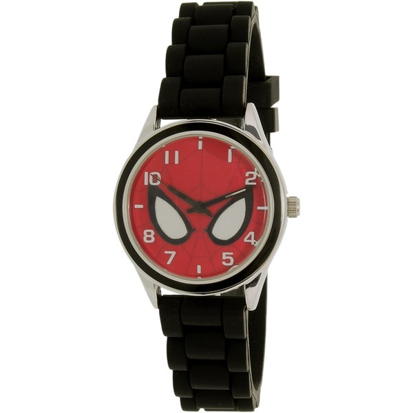 Disney Boys' Ultimate Spider-Man SPMAQ512 Black Silicone Quartz Watch