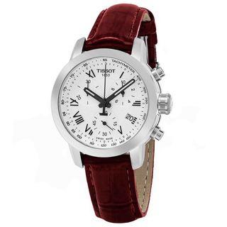 Tissot Women's T055.217.16.033.01 'PR 100' Silver Dial Burgundy Leather Strap Chronograph Swiss Quartz Watch