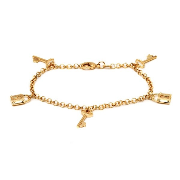 18K Gold-plated Brass Lock and Key Charm Bracelet