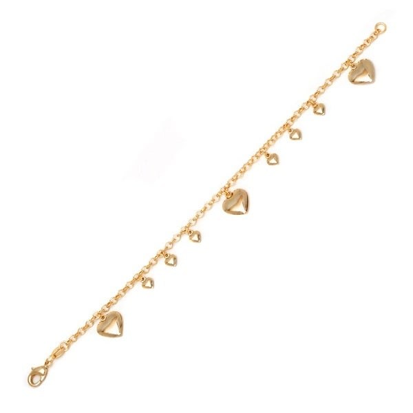 18K Gold-plated Brass Polished Hearts Charm Bracelet