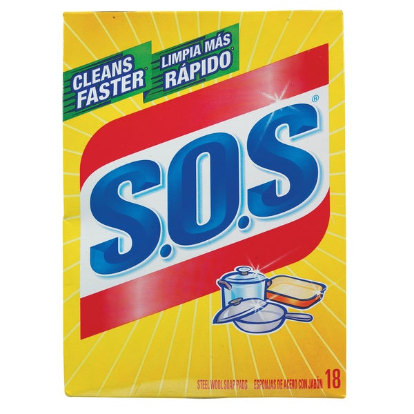 S.O.S 98018 S.O.S Steel Wool Soap Pads 18-count