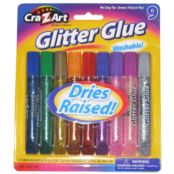 Cra-Z-Art 11300 Assorted Colors Washable Glitter Glue 9 Count