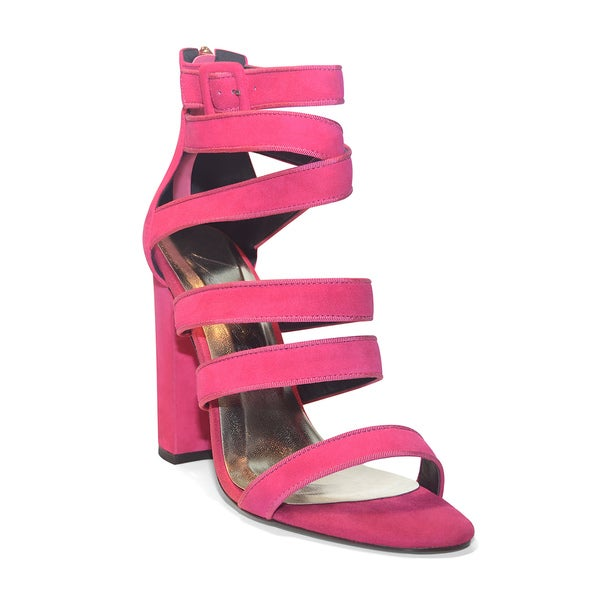 Lonia Pink Suede Penelope Chunky Heel Shoes