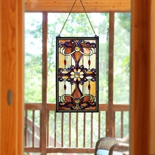 River of Goods Brandi's Amber Stained Glass 26-inch Window Panel - M