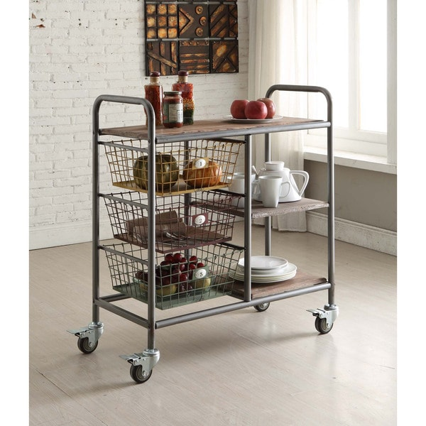 Urban Loft Collection Multicolor Metal/Wood Kitchen Trolley