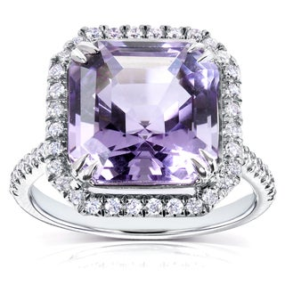 Annello 10k White Gold Asscher Amethyst and 3/8ct TDW Halo Diamond Ring (H-I, I1-I2)