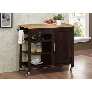 Calgary Brown Wood Kitchen Cart with Casters