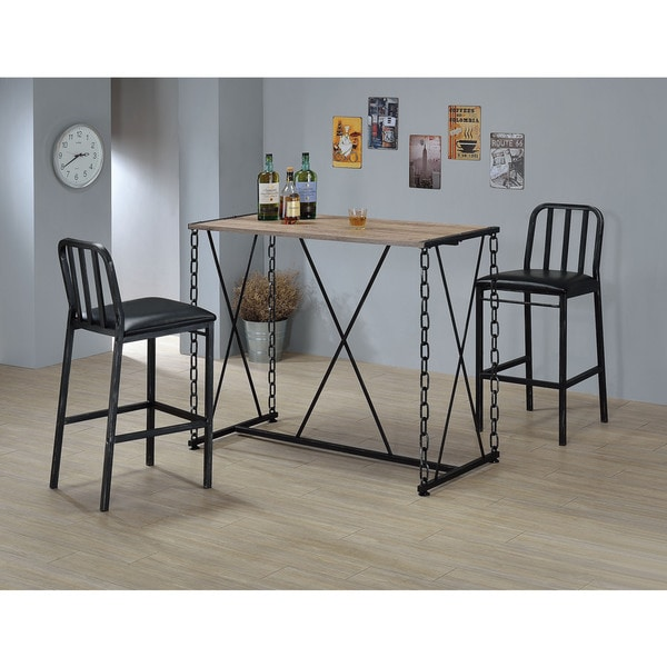 Jodie Black Wood/Metal/Faux-leather 2-chair Bar Set
