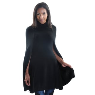 Hadari Women's Black Cowl Neck Bat Cape Sleeve Cardigan