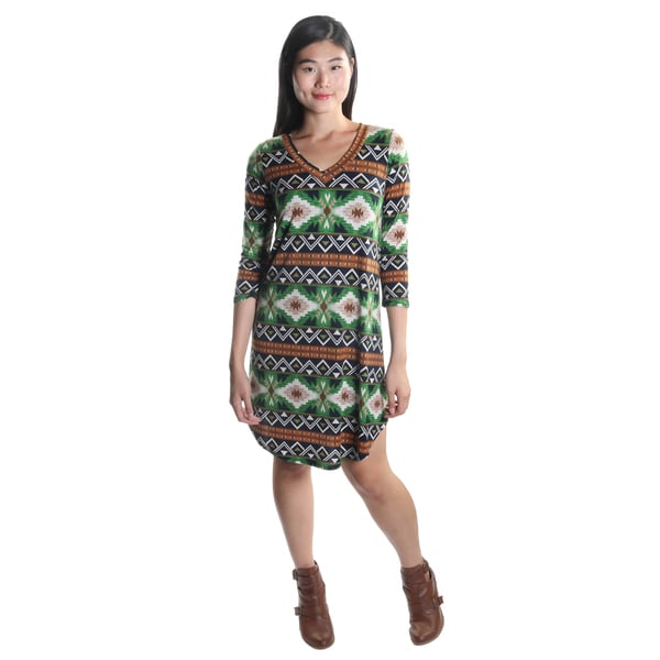 Hadari Women's 3/4 Sleeve V-Neck Boho Patterned Casual Green Shift Dress