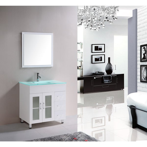 Eviva Shore 30-Inch Modern Bathroom Vanity with Integrate Glass Sink