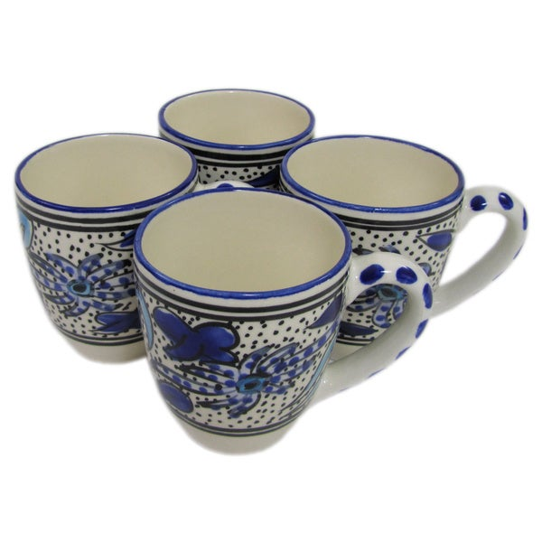 Handmade Set of 4 Le Souk Ceramique Stoneware Aqua Fish Design Tea/Espresso Cup and Saucer (Tunisia) 20360957
