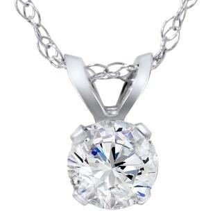 14k White Gold 1/4ct TDW Diamond IGI Certified Solitaire Diamond Pendent (H-I, SI1-I1)