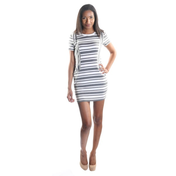 Hadari Women's Gray Short Sleeve Back Zip Stripped Midi Dress with Frontal Pockets