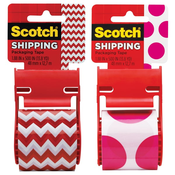 "3M 141-PRTD4 1.88"" X 500"" Pink Polka Dot & Orange Zig Zag Shipping Tape"