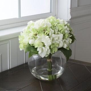 Pure Garden Hydrangea Floral Arrangement with Glass Vase - Green