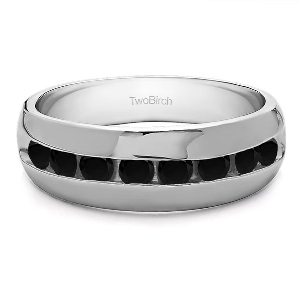 Sterling Silver Channel set Men's Band with Open Ended channel With Black Diamonds (0.52 Cts.)