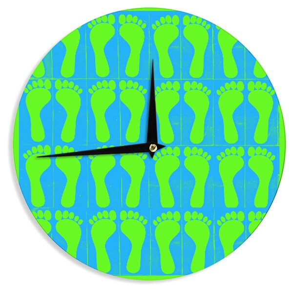 KESS InHouse Sreetama Ray 'Footprints Green' Blue Aqua Wall Clock 20369402