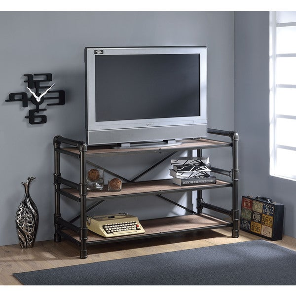 Caitlin Rustic Oak and Black TV Stand