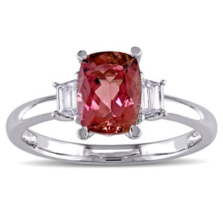 Pink Tourmaline and 1/4ct TDW Diamond 3-Stone Engagement Ring in 14k White Gold by The Miadora Signature Collection