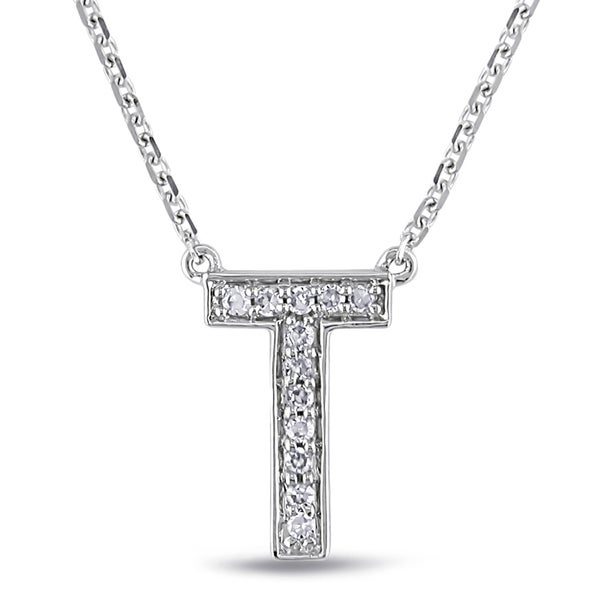 Miadora 14k White Gold Diamond Accent T Initial Necklace (G-H, SI1-SI2)