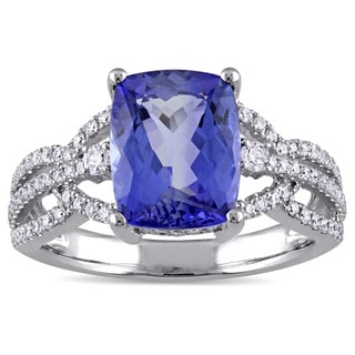 Miadora Signature Collection 14k White Gold Cushion-Cut Tanzanite and 1/2ct TDW Diamond Woven Band Engagement Ring (G-H,SI1-SI2)