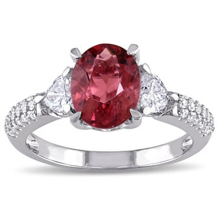 Pink Tourmaline-CN and 1/5ct TDW Heart-Cut Diamond Engagement Ring in 14k White Gold by The Miadora Signature Collection