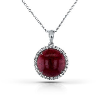 Annello 14k White Gold Cabochon Garnet and 1/5ct TDW One-of-a-kind Diamond Necklace (H-I, I1-I2)