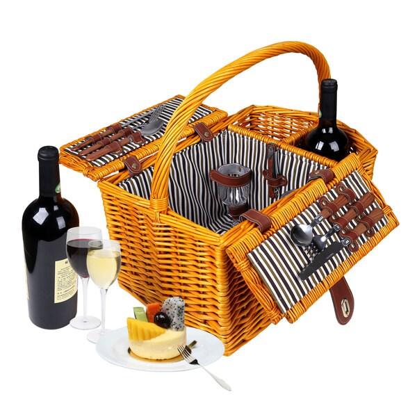 Trademark Innovations Striped Lined Wicker Picnic Basket with Wineholder 20398519