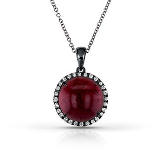 Annello 14k Black Gold Cabochon Garnet and 1/5ct TDW One-of-a-kind Diamond Necklace (H-I, I1-I2)