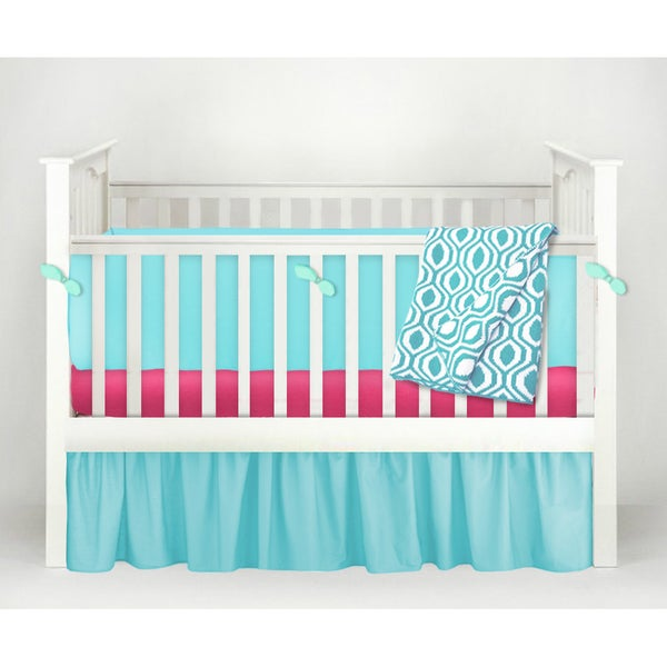 POP! Teal/Fuchsia Cotton Nursery Design 6-piece Baby Crib Bedding Set