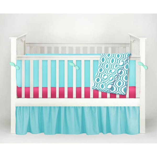 American Baby Company POP! Teal and Fuchsia Cotton 4-Piece Baby Crib Bedding Set