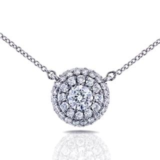 Annello 14k White Gold 4/5ct TDW Round Diamond Cluster Necklace (H-I, I1-I2)