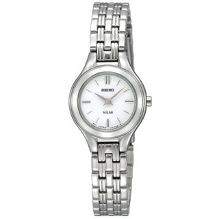 Seiko Women's SUP003 Stainless Steel SilverTone Solar Powered Watch with a Pettite White Dial
