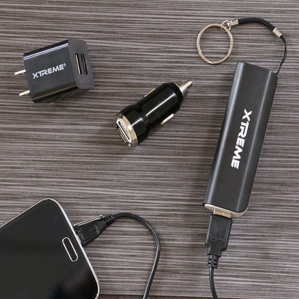 Xtreme All-in-1 2-port USB Car Travel Charger and Battery Power Bank Kit