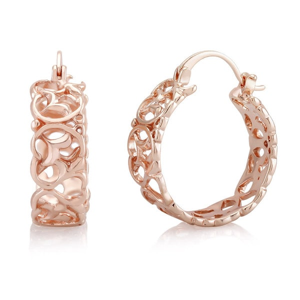 Rose Gold-plated Filigree Hoop Earrings