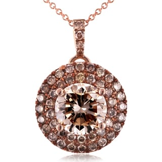 Annello 18k Rose Gold 1 5/8ct TDW Brown and Champagne Diamond Pendant with 14k Rose Gold Chain