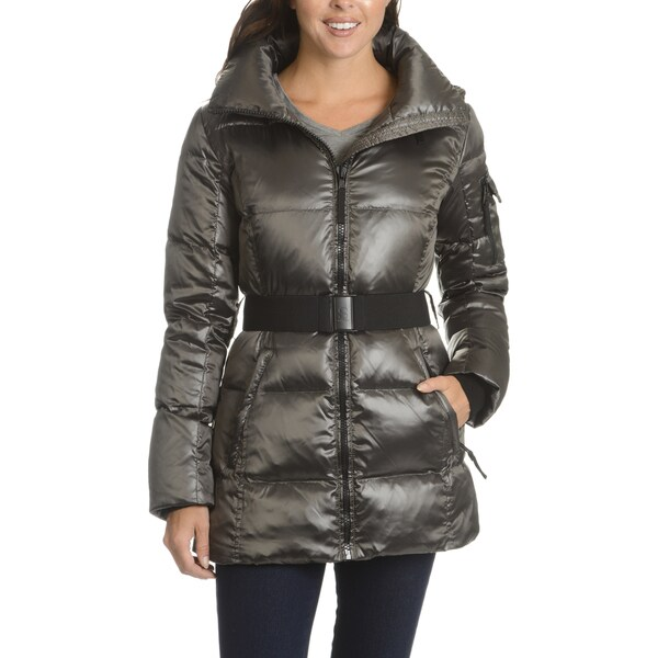S13 Women's Grey Quilted Hooded Belted Down Coat