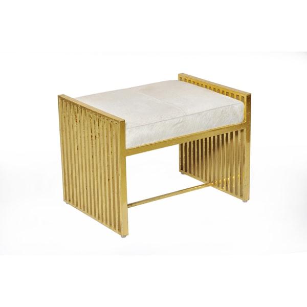 Horizon Goldtone Metal Stool with White Leather Hide Cushion
