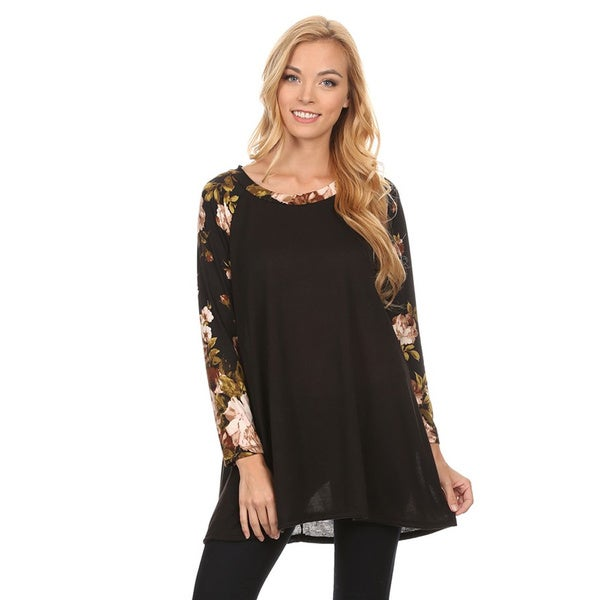 Women's Floral Pattern Long-Sleeve Tunic Top