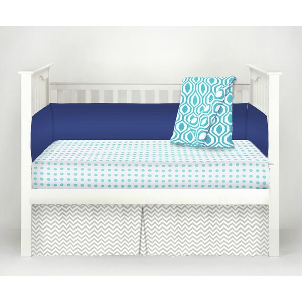 American Baby Company The Blues Blue/Grey Cotton 4-piece Baby Crib Bedding Set