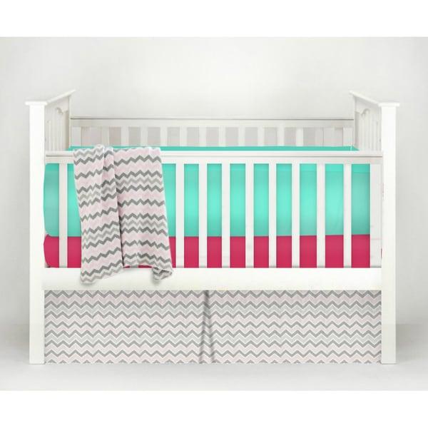 American Baby Company POP! Fuchsia Cotton Chevron 4-piece Baby Crib Bedding Set