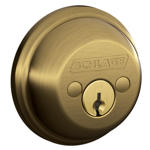 Schlage B62NV609 Antique Brass Double Cylinder Deadbolt